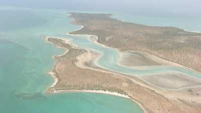 Vue large du littoral coloré de Shark Bay