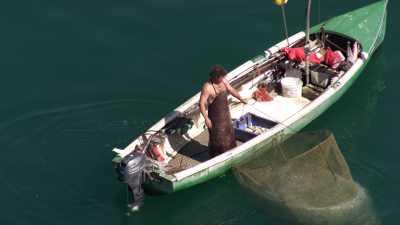 Un pêcheur traditionnel sur le Lac de Genève