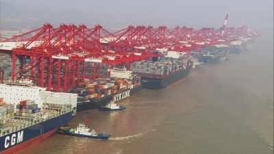 Port de Yangshan, bateaux et containers