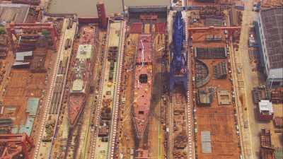 Port de Shanghai, chantier naval, Yangtze