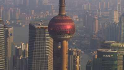 Skyline du centre ville le long de la rivière HuangPu