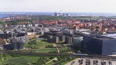 Copenhague, métro et fumée dans la ville