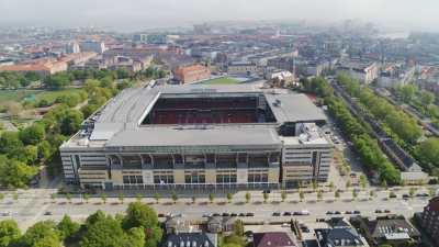 Quartier résidentiel d'Osterbro et Parken Stadium