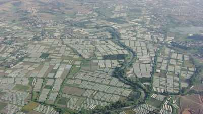 Agriculture sur la côte, serres