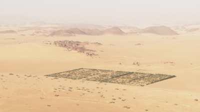 Culture de palmiers et bassins de rétention en plein désert