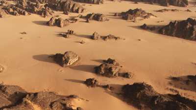 Un homme et ses dromadaires dans le désert rocheux de la région de Djanet