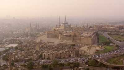 La Citadelle de Saladin dans la pollution du soir