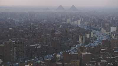 Du Nil vers les pyramides, crépuscule