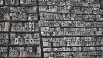 A la verticale d'un quartier de petits immeubles