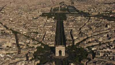Plans larges Seine, Arc de Triomphe et Tour Eiffel