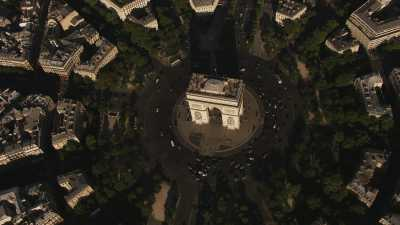 Plans larges Seine, Arc de Triomphe et Tour Eiffel