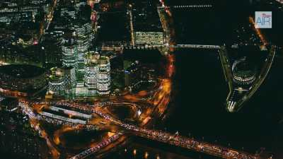 Boulogne-Billancourt de nuit: le secteur du Pont de Sèvres,  l'île Séguin avec la Seine Musicale