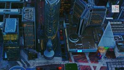 Le quartier de la Défense, vue au crépuscule