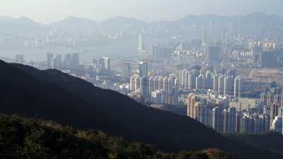 Plans larges de Hong Kong depuis Kowloon Peak