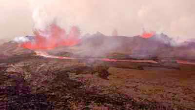 Eruptions sur le Holuhraun, en bordure du Vatnajokull