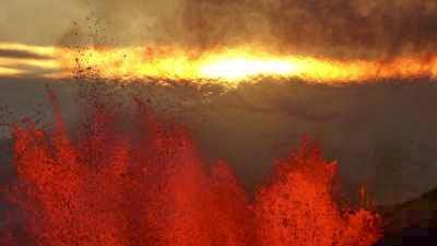 Eruptions sur le Holuhraun, jets de lave