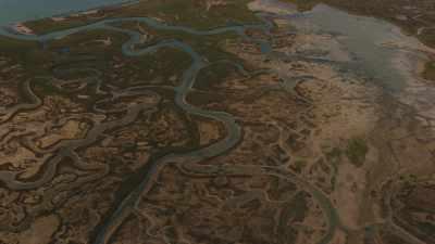 Survol plan large du site et de la Lagune de Venise