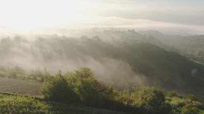 Brumes sur les collines, vignes et villages de Ligurie