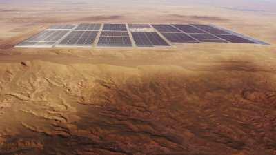 Centrale solaire Noor et le paysage aride