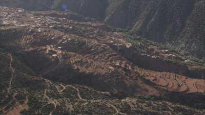 Montagnes et villages dans la région d'Asni, Ouirgane, Marrakech