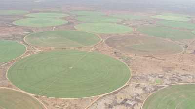 Culture irriguée en cercle dans un paysage aride