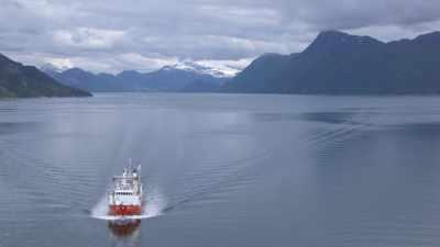 Fjord et bateau de croisière Hurtigruten