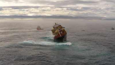 Cargo échoué en mer