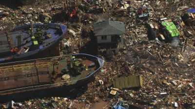 Bateaux sinistrés après le passage du  typhon Haiyan