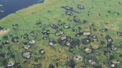 Un village lacustre près de Bor, chaque case sur un îlot