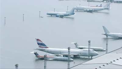 Aéroport inondé suite à la tempête