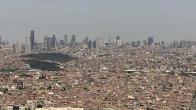 Plans larges de la ville d'Istanbul