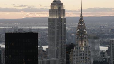 Manhattan et ses gratte-ciels  le soir